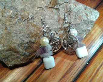 Amethyst and Calcite dangles with pentagram charms
