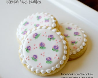 Small two-toned rosette Sugar Cookies - One Dozen