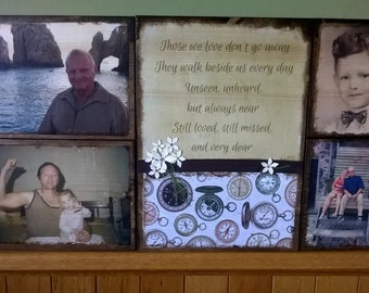 Rustic Photo display, photo transfer on wood, pictures on wood, photos on wood, art on wood, wall decor