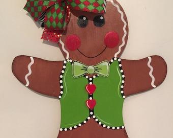 Gingerbread Door Hanger Christmas Door Hanger Gingerbread Man Wood Door Sign Gingerbread & Gingerbread decor | Etsy