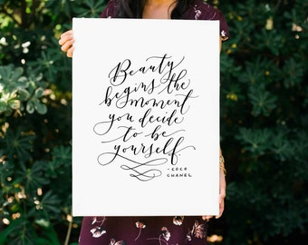 Beauty Begins FREE SHIPPING Handlettered Modern Calligraphy Canvas Print Coco Chanel Quote Canvas Art Wall Art