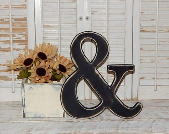 "Wooden Ampersand Sign 12"" Tall Distressed Made To order Photo Props Ampersand Wall Decor"