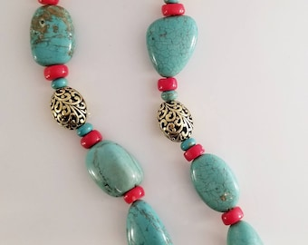 Large Natural Turquoise Coral Art Necklace Ethnic Artisan Handmade Studiomade One of a Kind
