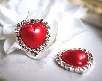 Red Heart Rhinestone Buttons - Valentine's Rhinestone Embellishments - Flatback Rhinestone Buttons - Flower Centers - DIY Supplies