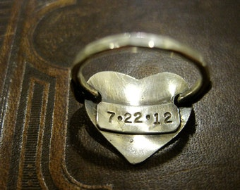 Sterling silver or Gold stamped heart ring, anniversary date, initial, customized, boyfriend wedding ring, engraved ring, name ring