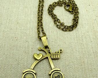 Textured bronze charm Love CHN 0014 bicycle chain 1