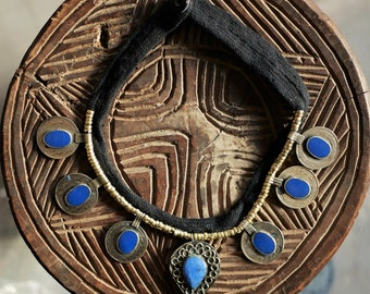 Ethnic Traditional Kuchi Necklace - Afghanistan - Lapis Lazuli - Old Coins - Coin Necklace - Tribal Chunky Necklace - Breastplate Necklace