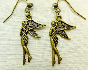 Brass Angel Charms Dangle Earrings with Embellished Fish Hook Ear Wires