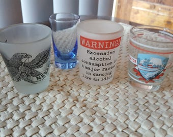 4 vintage shot glasses,handy home bar drinkware, collectable glassware