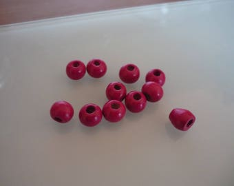 30 pink wooden beads 8 mm round