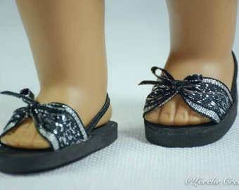 American Girl or 18 inch doll SANDALS SHOES Flipflops in Black and Silver with Bow Trim and Heel Strap