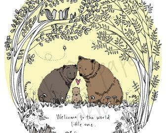 A4 New Baby Print - Baby Art - Nursery Decor - Woodland Print - New Born Print - Baby Shower