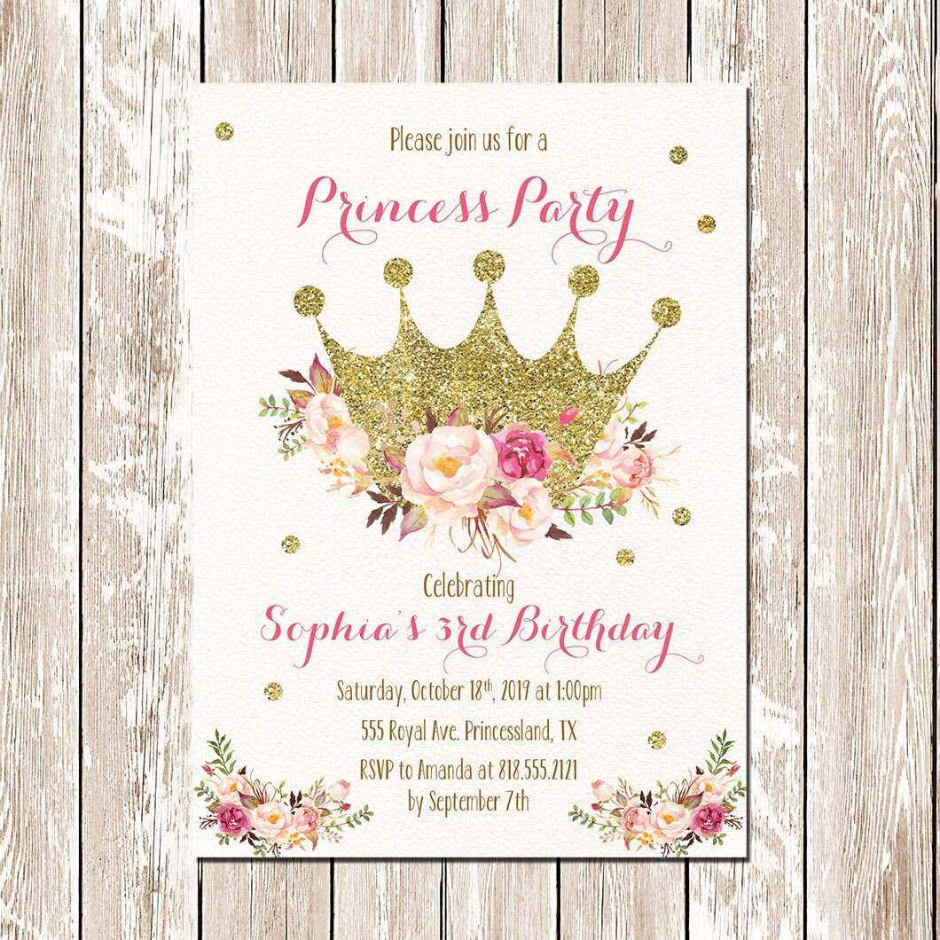 Printable Princess Invitation Princess birthday invitation