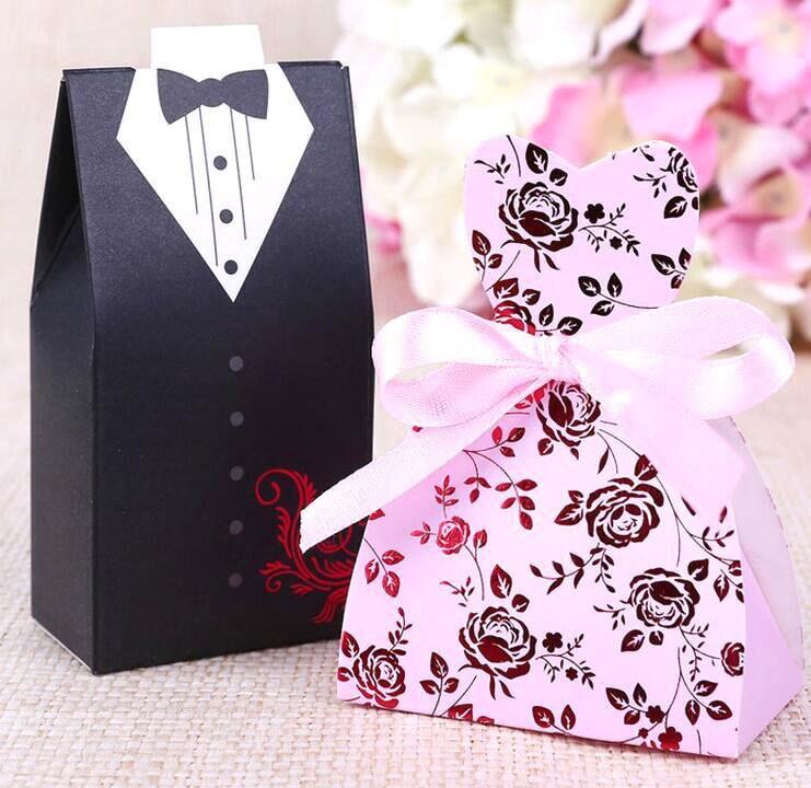 100 Bride And Groom Wedding Favor Boxesdiy Pink Dress Sweetheart