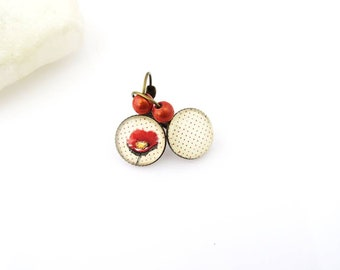 "Earrings cabochon ""time of poppies"""