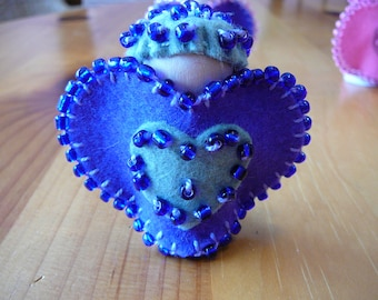 Knave of Hearts Peg Doll, Purple Wool Felt Miniature, Waldorf Wood Peg Doll, Nursery Rhyme Peg Doll