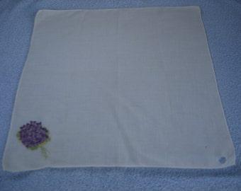 Violets Embroidered Vintage Hankie