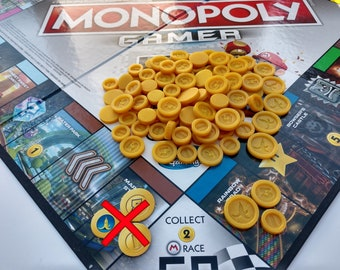 Monopoly Gamer Mario Kart Gold Coins | 105 Coins | 3D Printed