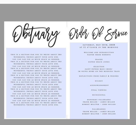 Modern Black and White Funeral Program Template Obituary
