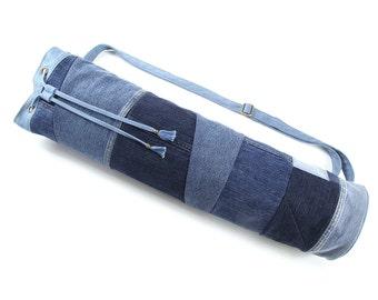 Yoga Bag | Yoga Mat Bag Upcycled Denim Patchwork Mat Carrier Drawstring Yoga Bag (READY TO SHIP)