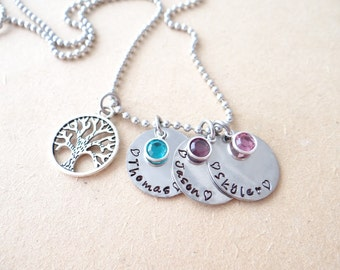 Family Tree Necklace, Mom Necklace, Grandma Necklace, family tree, family necklace, stamped necklace, mom necklace, valentines gift for mom