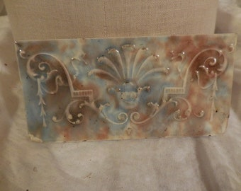 Vintage Signed on Back Ceramic Tile Light Blue/Brown/Beige Repurpose/Reuse/Recycle Embossed Narrow Decorative Decor