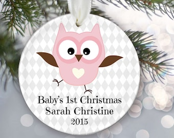 Baby's First Christmas Ornament Personalized Christmas Ornament Baby Girl or Baby Boy Ornament Custom Baby Gift Baby Owl Keepsake OR222
