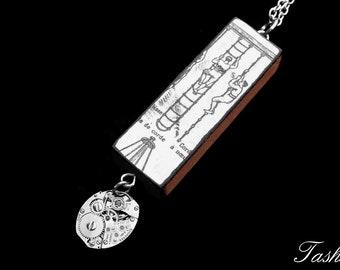 Steampunk Wooden Diagram Ephemera Necklace, Vintage Long Silver Watch Movement Pendant, Vintage Boho Jewelry