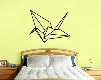 origami crane wall decal- large size origami crane bird wall sticker