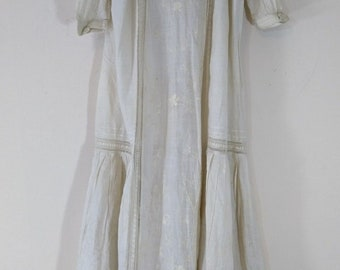 Antique Embroidered Ribbon Lace Baby Infant Christening Gown, Cotton, Early 1900s