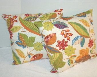 Two Pillow Covers - 16 by 16 Inch - Green, Blue,Mustard,Burgundy, Leaves, Flowers
