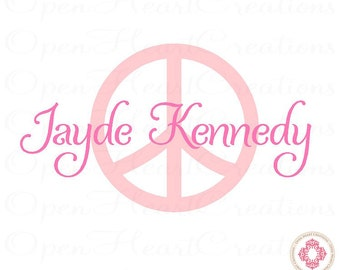 Peace Sign Wall Decals with Personalized Name - Girl Bedroom Vinyl Wall Decal Teen Decor FN0345