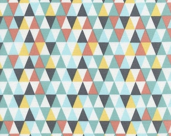 40% OFF SALE - TRIANGLE Geo in Aqua  C3045 - By Alice Kennedy for Timeless Treasures Fabric - By the Yard
