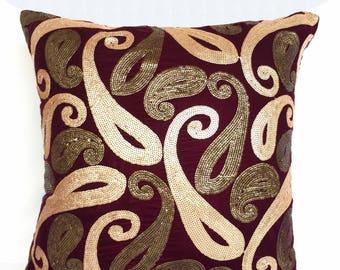 paisley pillow. Gold sequin work on bargandy velvet. Luxury velvet pillow. decorative  cushion cover.  Wedding decor.18inch  custom made