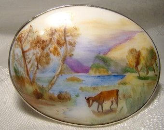 Signed Hand Painted Miniature Landscape Painting Porcelain Sterling Brooch or Pin 1917