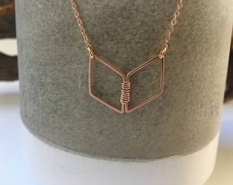 Chevron necklace / rose gold necklace / geometric necklace / delicate necklace / minimalist necklace / dainty necklace / layered necklace