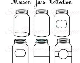 Mason jars collection SVG,  PNG, DXF for cricut, silhouette studio,cut file, cutting machine, vinyl decal, t shirt design, mtc scal