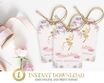 INSTANT DOWNLOAD Fairy Favor Tags, Printable, Editable, Fairy Party, Fairy Favor Tags, Fairies, Pink, Fairy Gift Tags, Printable Favor Tags