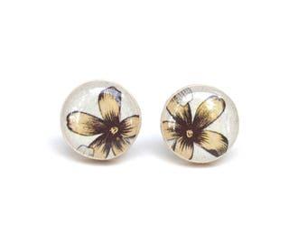 Yellow flower earrings / yellow wood studs / flower post earrings / yellow earrings / wood earrings / starlight woods