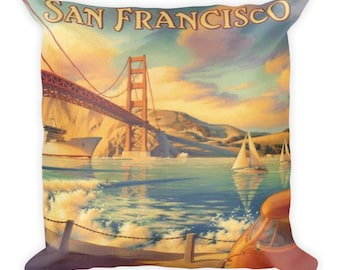 San Francisco pillow, San Francisco gift, San Francisco Decor, vintage pillow, decorative pillow, throw pillow, couch pillow, chair pillow