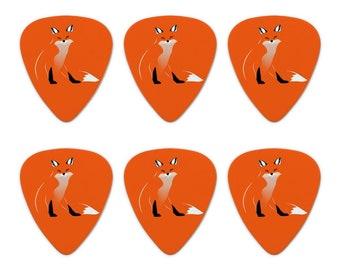 Stylish red foxy fox novelty guitar picks medium gauge - set of 6