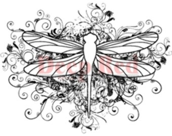 Deep Red Cling Rubber Stamp Rubber Stamp Dragonfly Flourish