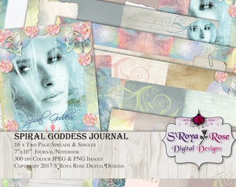 Printable Goddess Journal, DIY Kit, Plus 56 Goddess Oracle Cards, digital journal, crafting supplies, instant download, digital stationary
