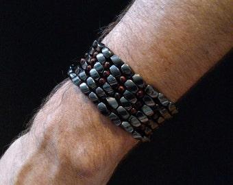 Hematite wrap bracelet / cuff, with red tiger's eye