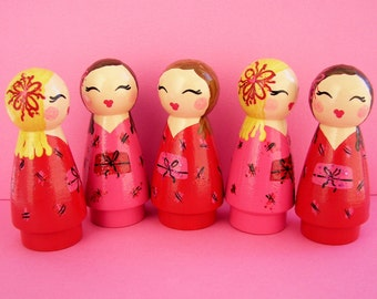 Hand Painted Love Boxes Valentine Red Pink Kokeshi  Wood Peg Doll Ornaments