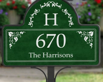 Elegant Monogram Address - Yard Stake With Magnet