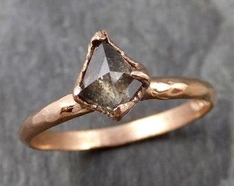 Fancy cut Salt and pepper Solitaire Diamond Engagement 14k Rose Gold Wedding Ring byAngeline 1100