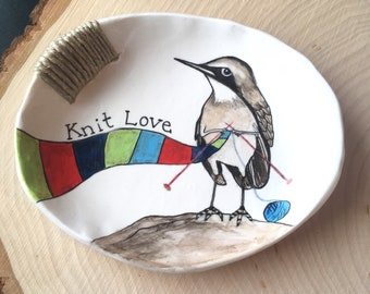 Ring Dish, Bird Ring Dish, Bird Lover, Knitting Gift, Gift for Her, Mothers Day Gift, Gift for Women, Gift for Daughter, Jewelry Dish