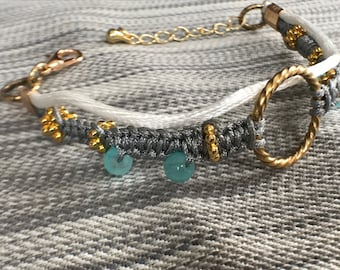 Gold, white, grey and turquoise macrame bracelet for her