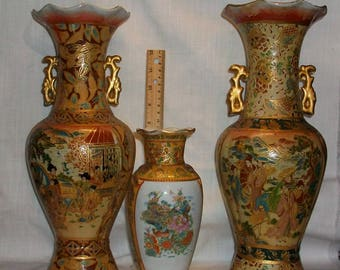 Listing 132 is a set of three chinese porcelain vases